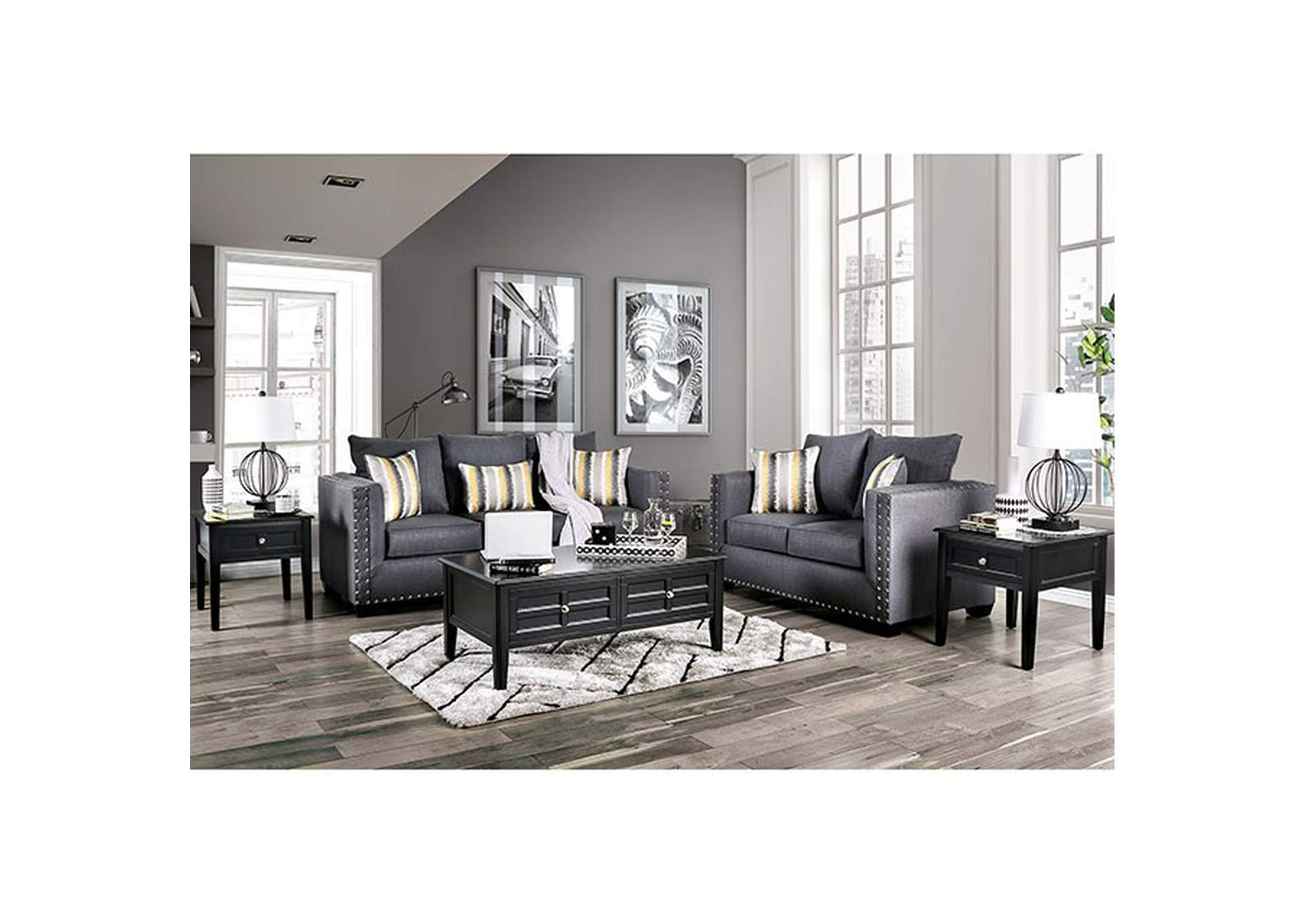 Inkom Blue Stationary Sofa,Furniture of America
