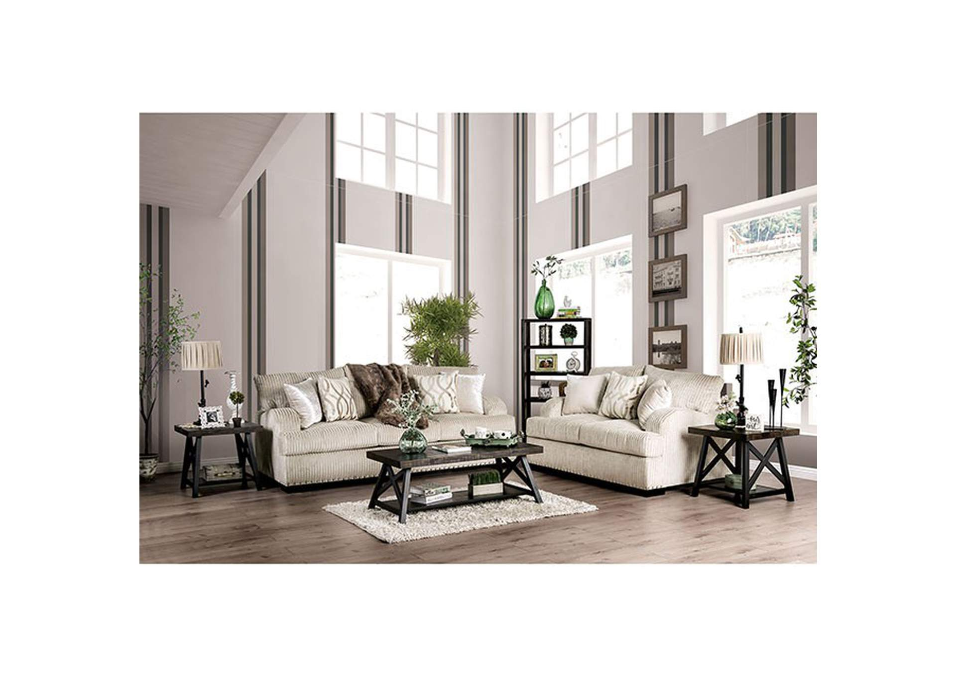 Zayla Golden Ivory Loveseat,Furniture of America