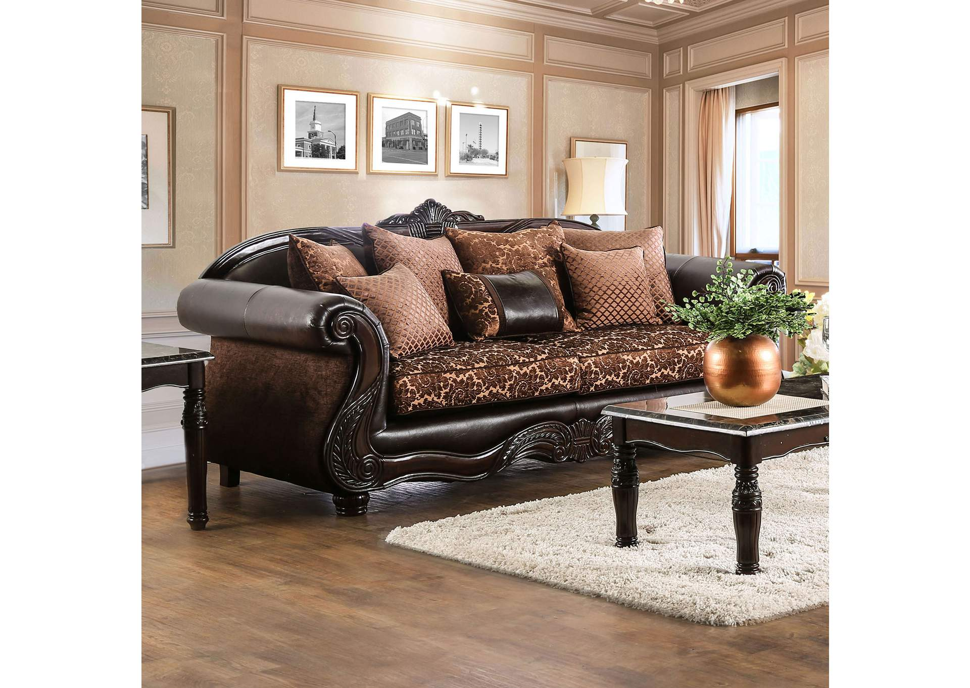 Elpis Brown Sofa,Furniture of America