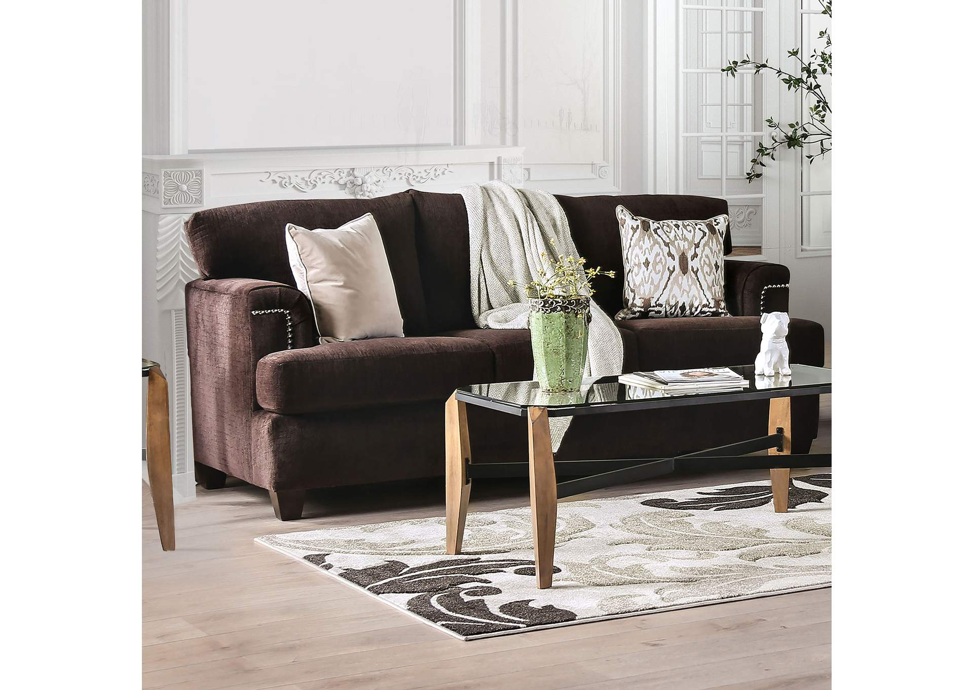 Brynlee Chocolate Sofa,Furniture of America