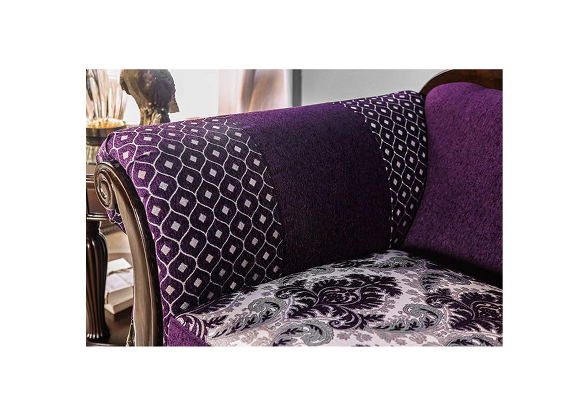 Emilia Purple Sofa,Furniture of America