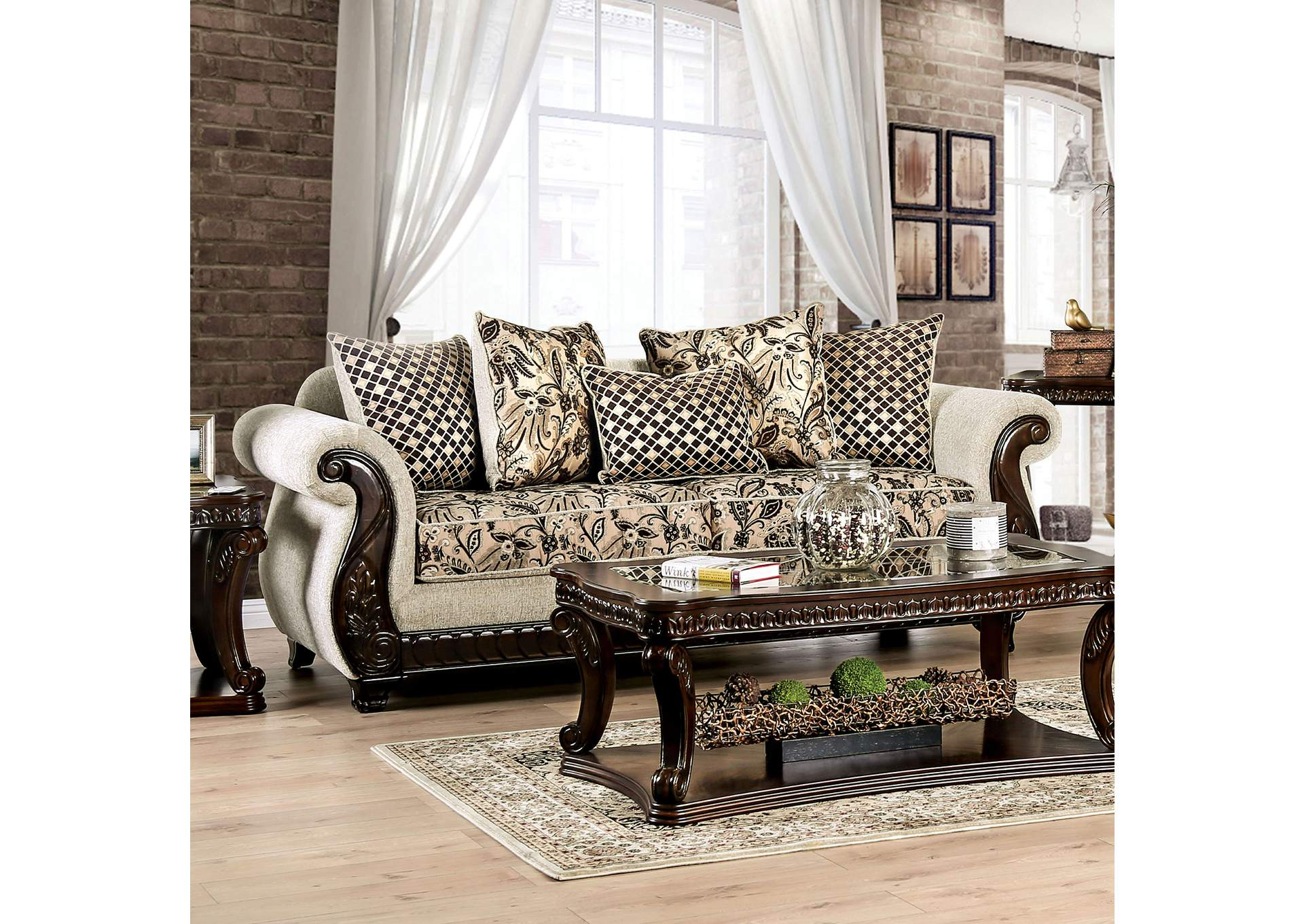 Caldiran Beige Stationary Sofa,Furniture of America