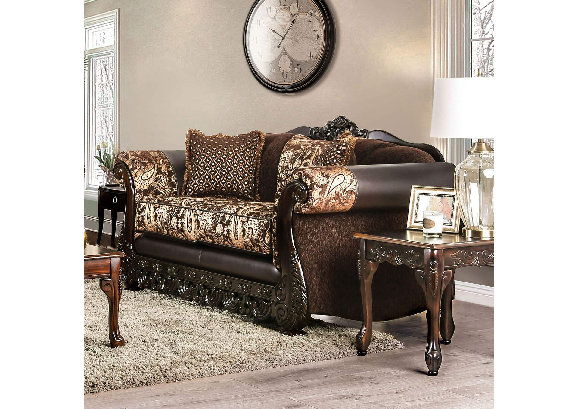 Newdale Brown Loveseat,Furniture of America