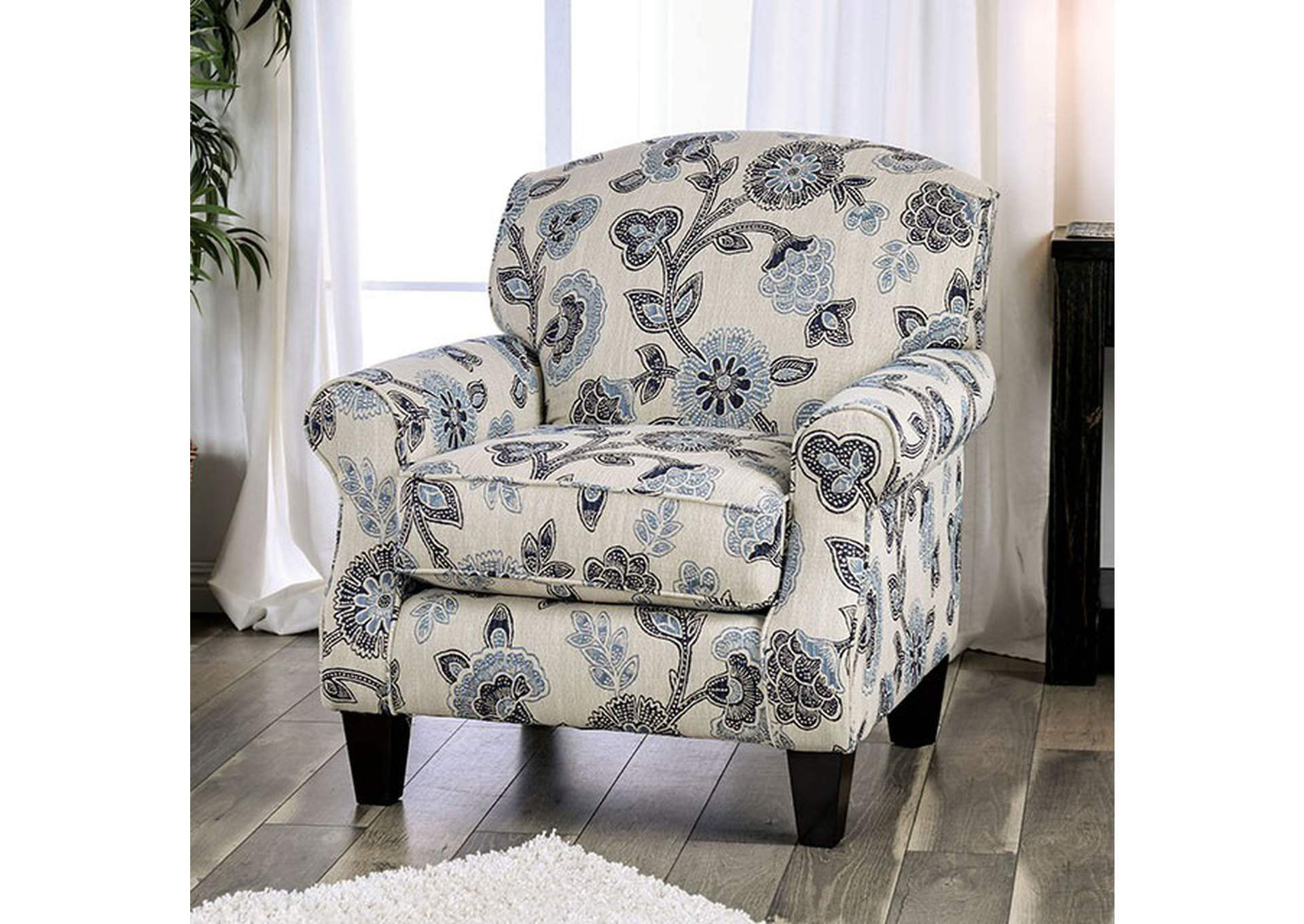 Nash Blue/Black Floral Chair,Furniture of America