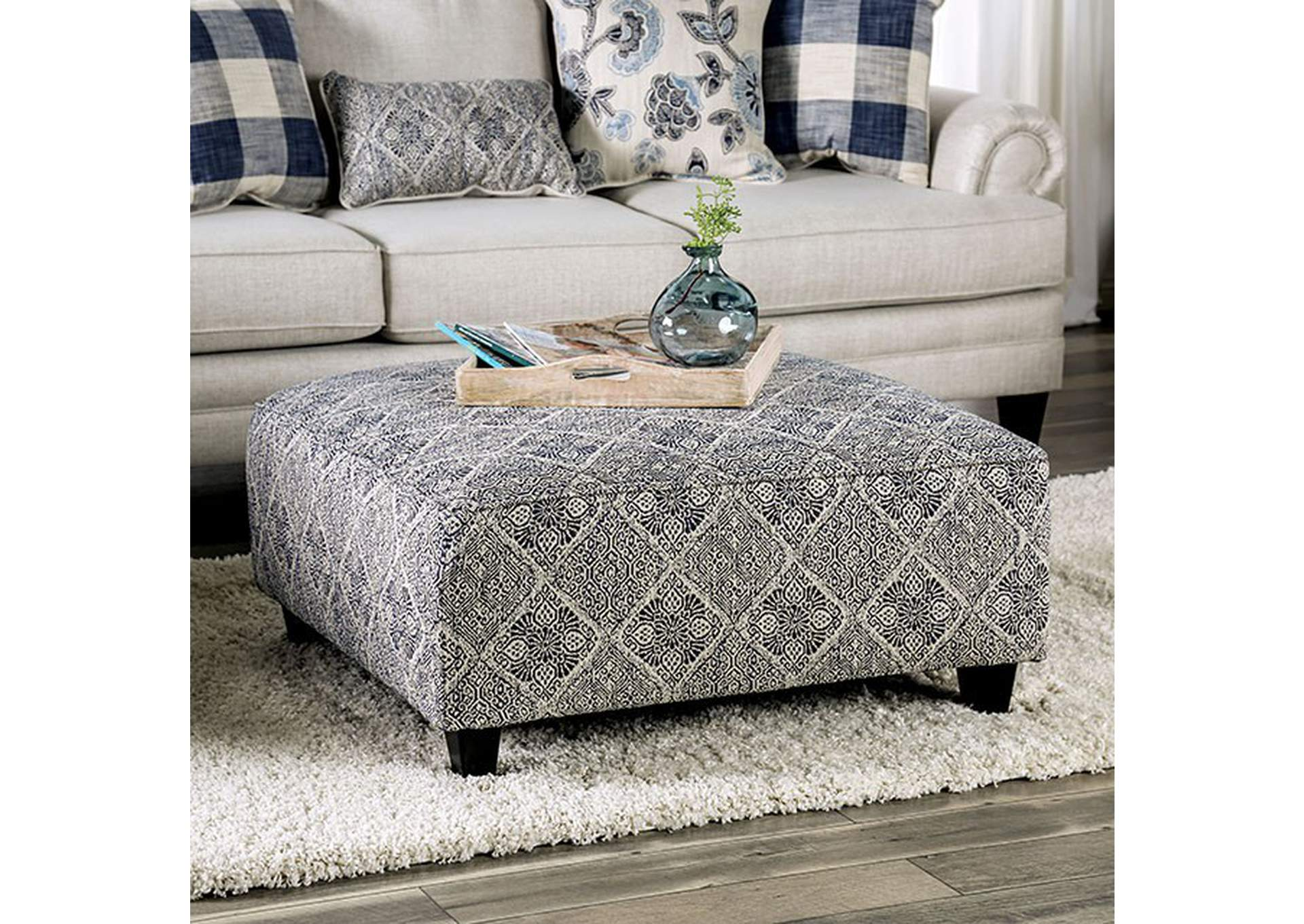 Nash Ivory Ottoman,Furniture of America