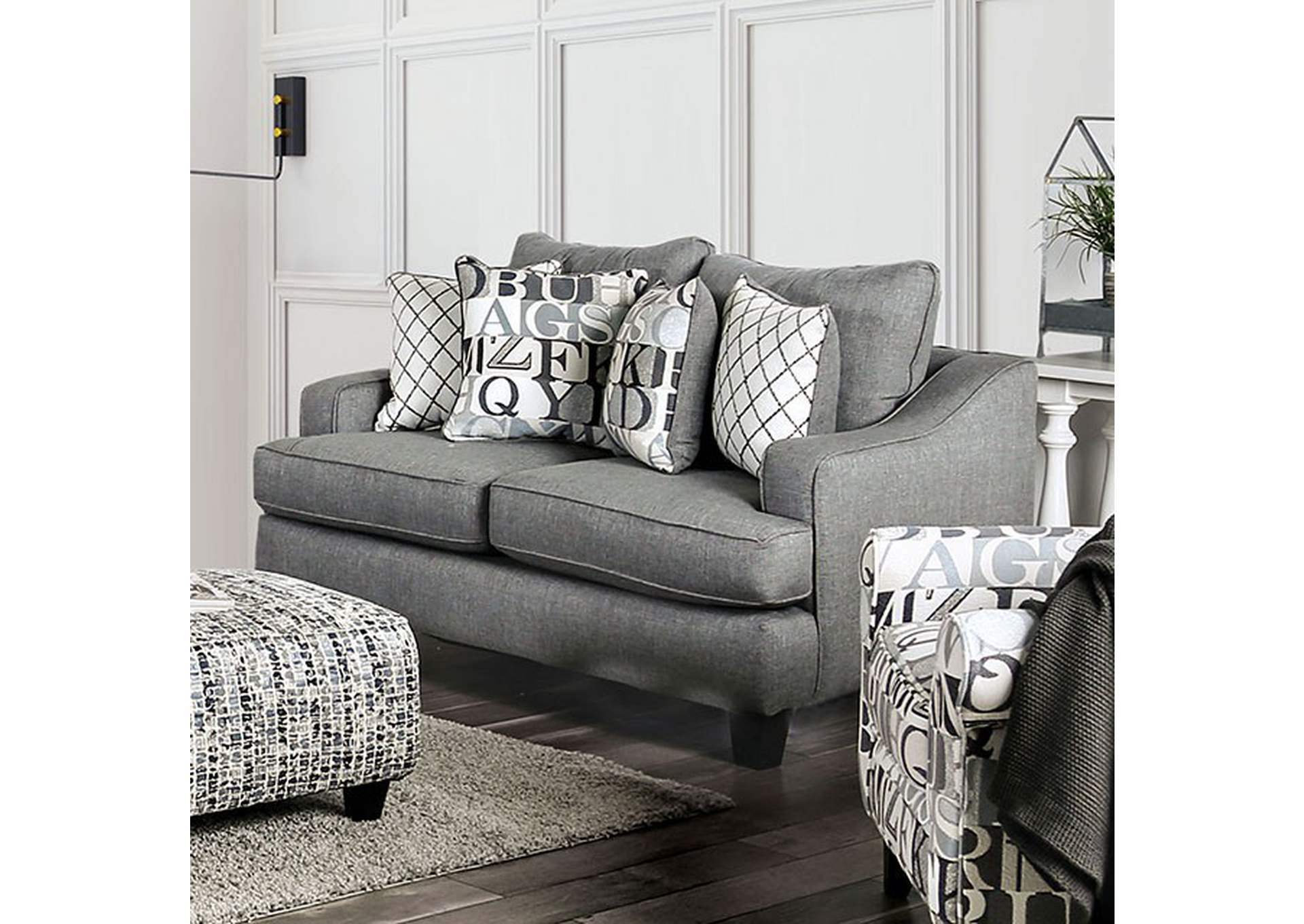 Verne Bluish Gray Loveseat,Furniture of America