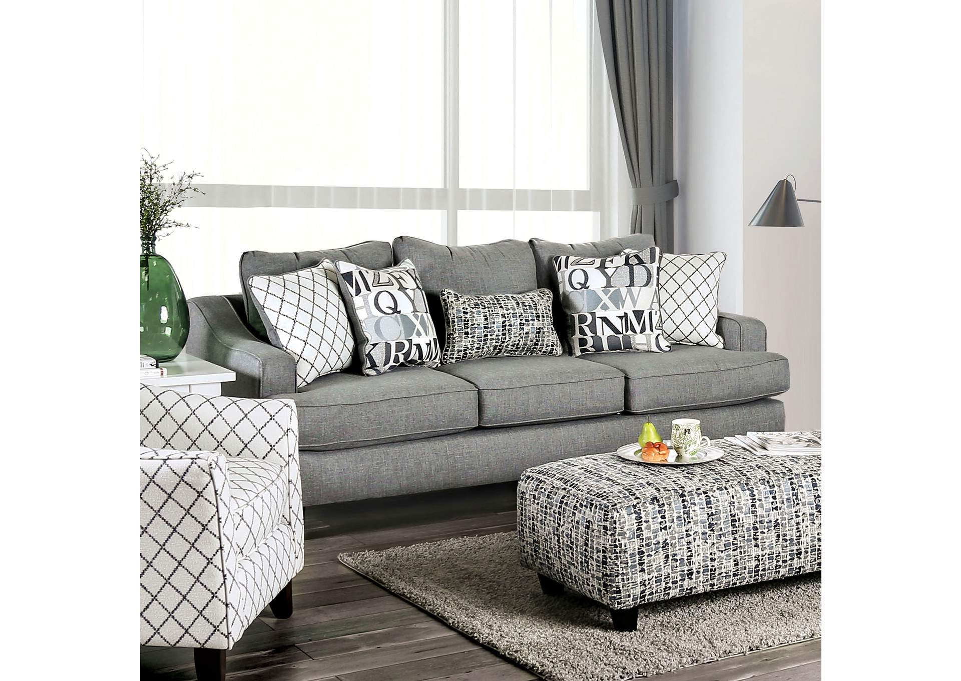 Verne Gray Stationary Sofa,Furniture of America