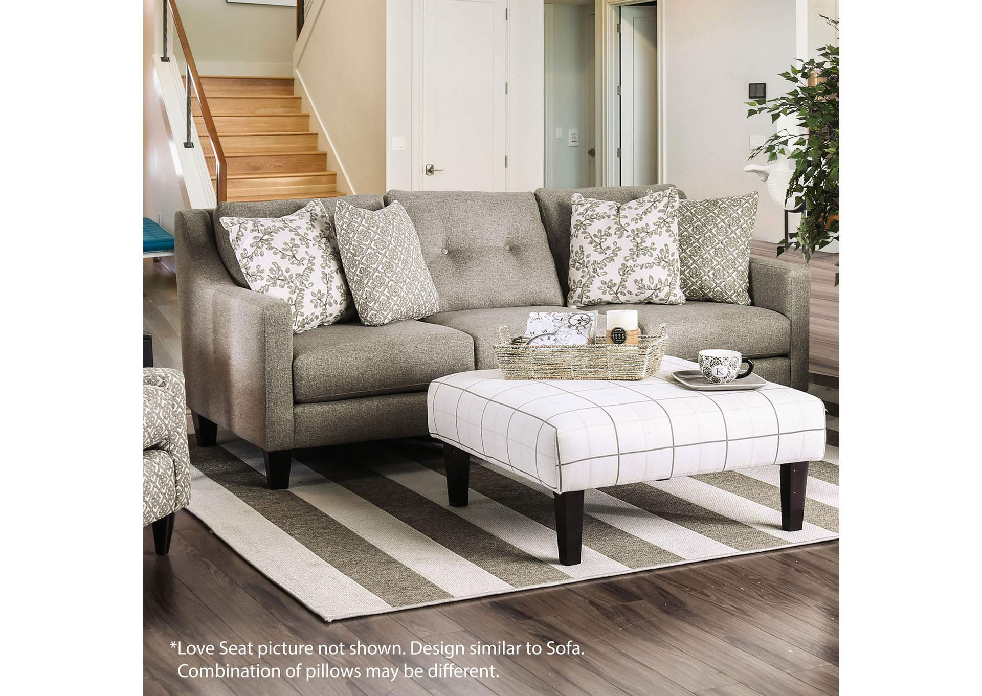 Dorset Light Gray Loveseat,Furniture of America