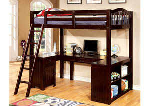 Image for Dutton Dark Walnut Twin Loft Workstation Bed w/Dresser and Mirror