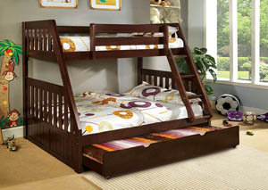 Image for Canberra Dark Walnut Twin/Full Bunk Bed w/Dresser and Mirror