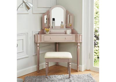 Image for Kasey Rose Gold Vanity w/Stool