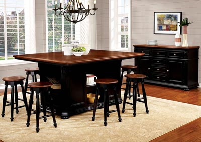 Image for Sabrina Cherry and Black Counter Table w/4 Counter Stool