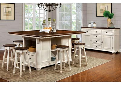 Image for Sabrina Cherry and White Counter Table w/4 Counter Stool