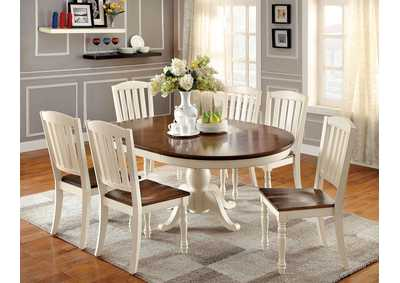Image for Harrisburg White/Oak Oval Extension Dining Table w/6 Side Chair