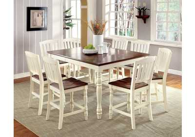 Image for Harrisburg II White/Oak Counter Table w/6 Counter Chair