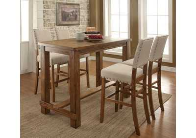Image for Sania II Rustic Oak Counter Table w/4 Counter Chair
