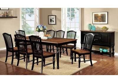 Mayville Black/Antique Oak Extension Dining Table w/8 Side Chair