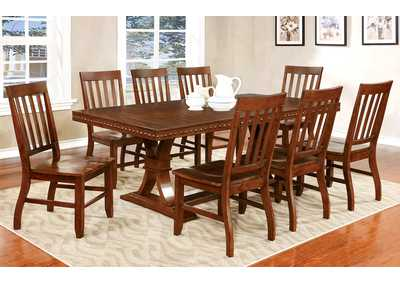 Foster I Dark Oak Extension Dining Table w/8 Side Chair