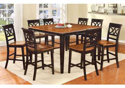 Image for Torrington II Black/Cherry Counter Table w/8 Counter Chair