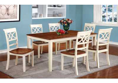 Image for Torrington White/Cherry Extension Dining Table w/6 Side Chair