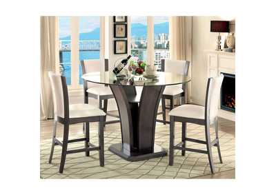 Image for Manhattan III Gray Glass-Top Counter Table w/4 Counter Chair