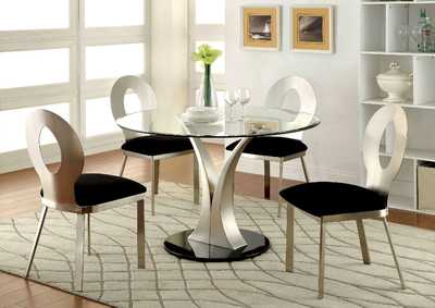 Image for Valo Silver/Black Dining Table w/4 Side Chair