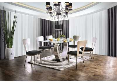 Image for Nova Silver and Black Dining Table w/4 Side Chair