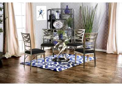 Image for Roxo Silver and Black Dining Table w/4 Side Chair