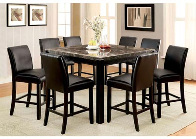 Image for Gladstone ll Black Marble Top Counter Table w/4 Counter Chair