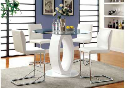 Image for Lodia II White Counter Table w/4 Counter Chair