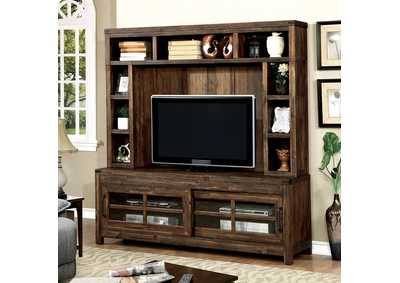 "Image for Hopkins Dark Walnut 72"" TV Console w/Hutch"