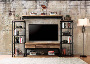 "Image for Kebbyll 60"" Antique Black Wood & Metal Entertainment Center"
