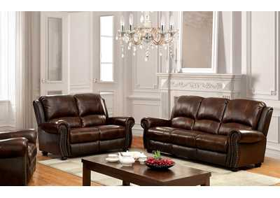 Image for Turton Brown Leather Sofa and Loveseat