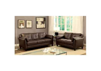 Image for Pierre Brown Leatherette Sofa and Loveseat Set