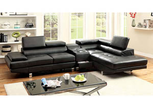 Image for Kemina Black Bonded Leather Sectional w/Speaker Console