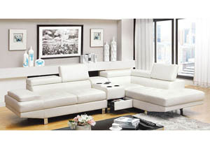 Kemina White Bonded Leather Sectional w/Speaker Console