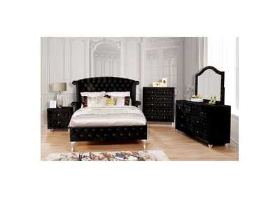 Image for Alzire Black Upholstered Queen Platform Bed w/Dresser & Mirror