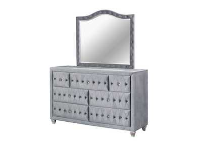 Alzir Gray Upholstered Dresser and Mirror