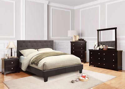 Image for Leeroy Dark Grey California King Platform Bed w/Espresso Dresser and Mirror