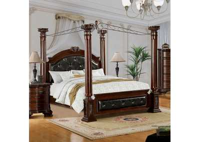 Image for Mandalay Brown California King Upholstered Canopy Bed w/Dresser and Mirror