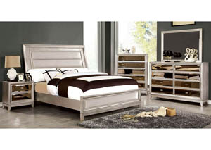 Image for Golva Silver Queen Upholstered/Padded FB Platform Bed w/Dresser and Mirror