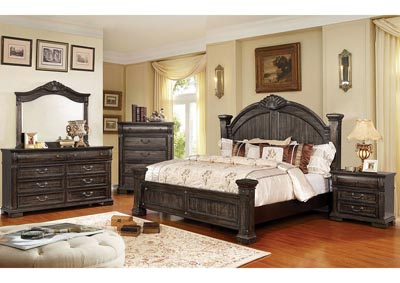 Genevieve Distressed Walnut Queen Low Poster Bed,Furniture of America