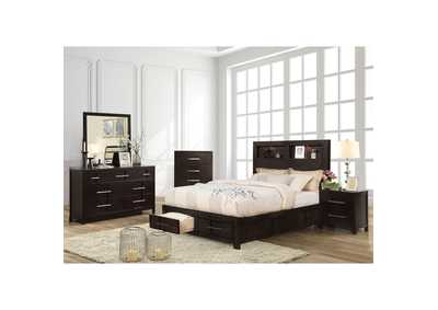 Karla Espresso Queen Bookcase Storage Bed,Furniture of America