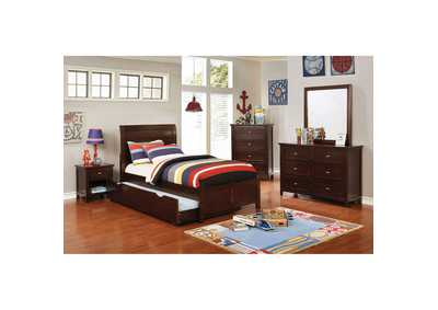 Brogan Brown Twin Sleigh Bed w/Trundle