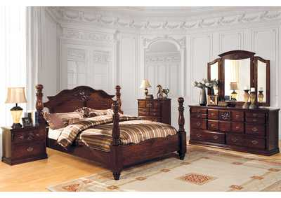 Image for Tuscan II Dark Pine California King Poster Bed w/Dresser and Mirror