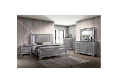 Alanis Light Gray Mirror/LED Trim California King Panel Bed w/Dresser and Mirror