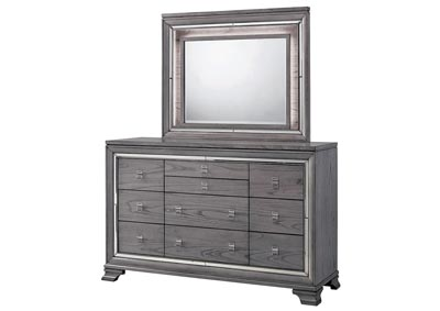Alanis Light Gray Mirror Trim Dresser and Mirror,Furniture of America