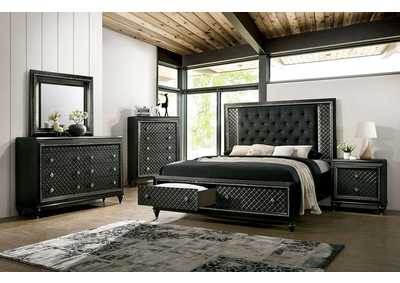 Demetria Black/Metallic Gray LED Eastern King Storage Bed w/Dresser and Mirror