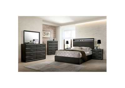Camryn Warm Gray LED/Chrome Trim Queen Platform Bed w/Dresser and Mirror