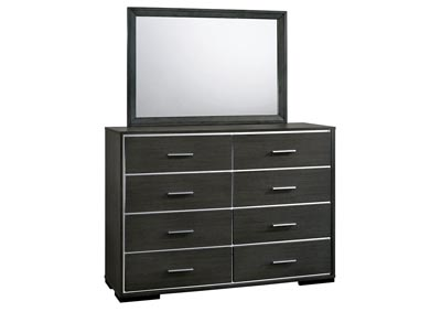 Camryn Warm Gray Chrome Trim Dresser and Mirror,Furniture of America